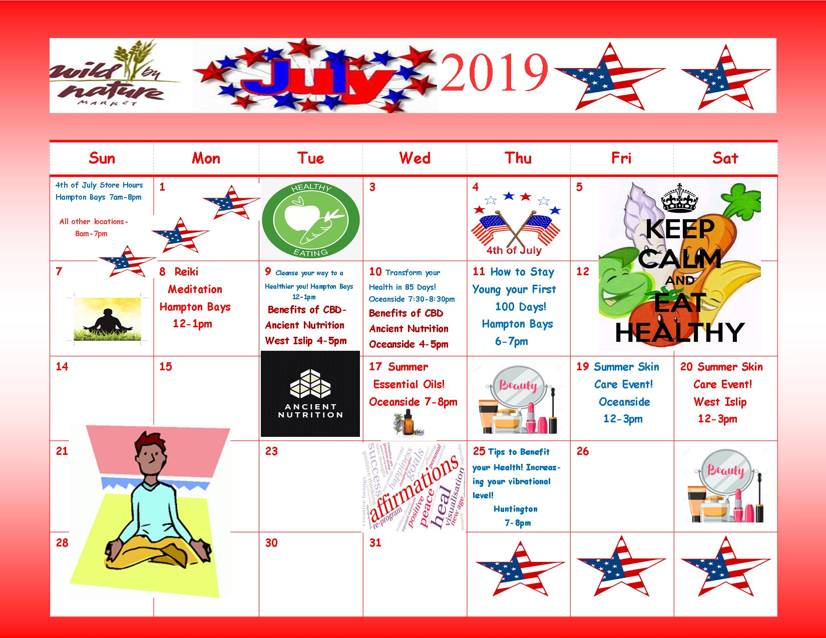 July 2019 Healthy Seminars | Wild by Nature Market